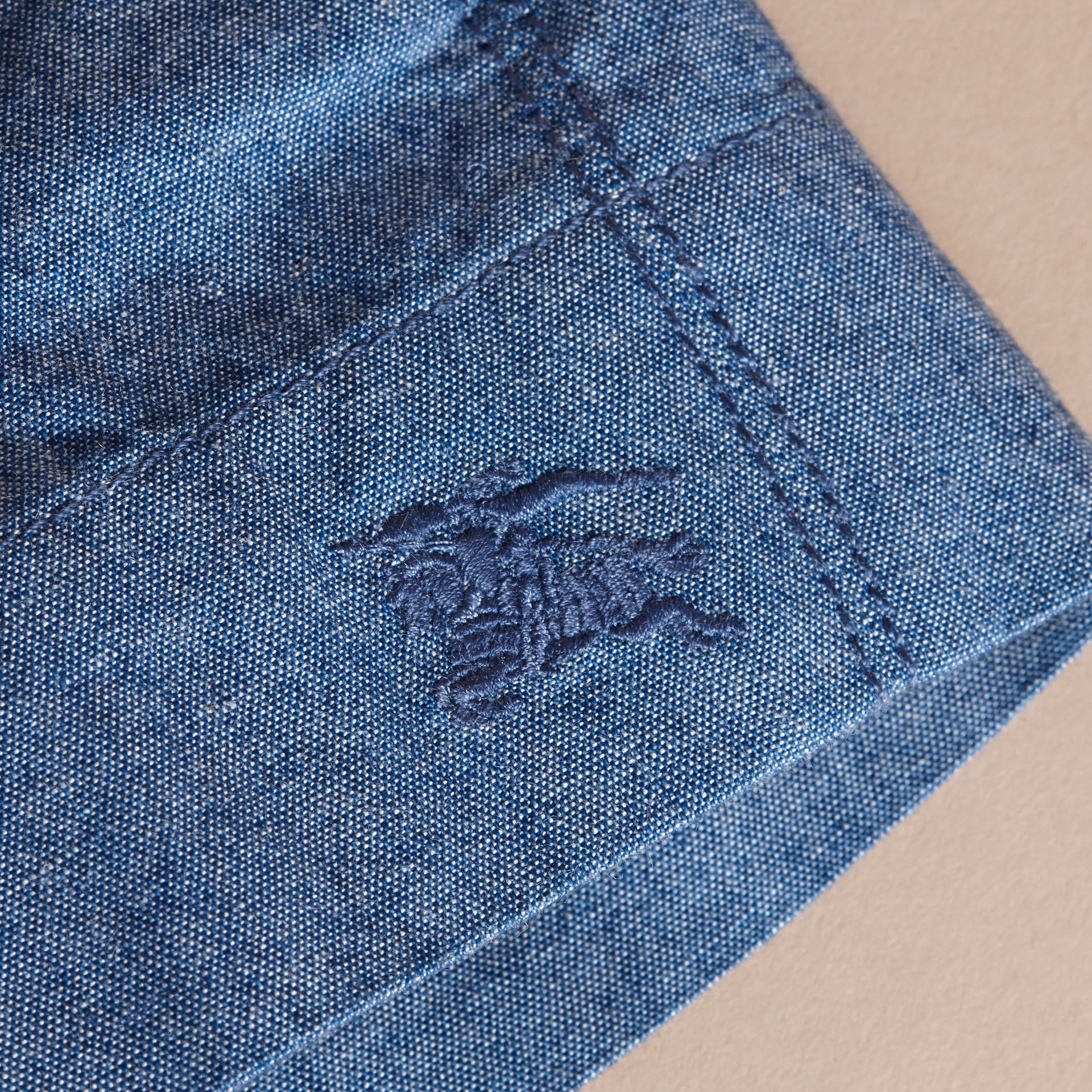 Button Detail Cotton Chambray Shorts - gallery image 2