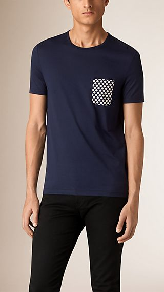 Polka-Dot Print Pocket Cotton T-shirt