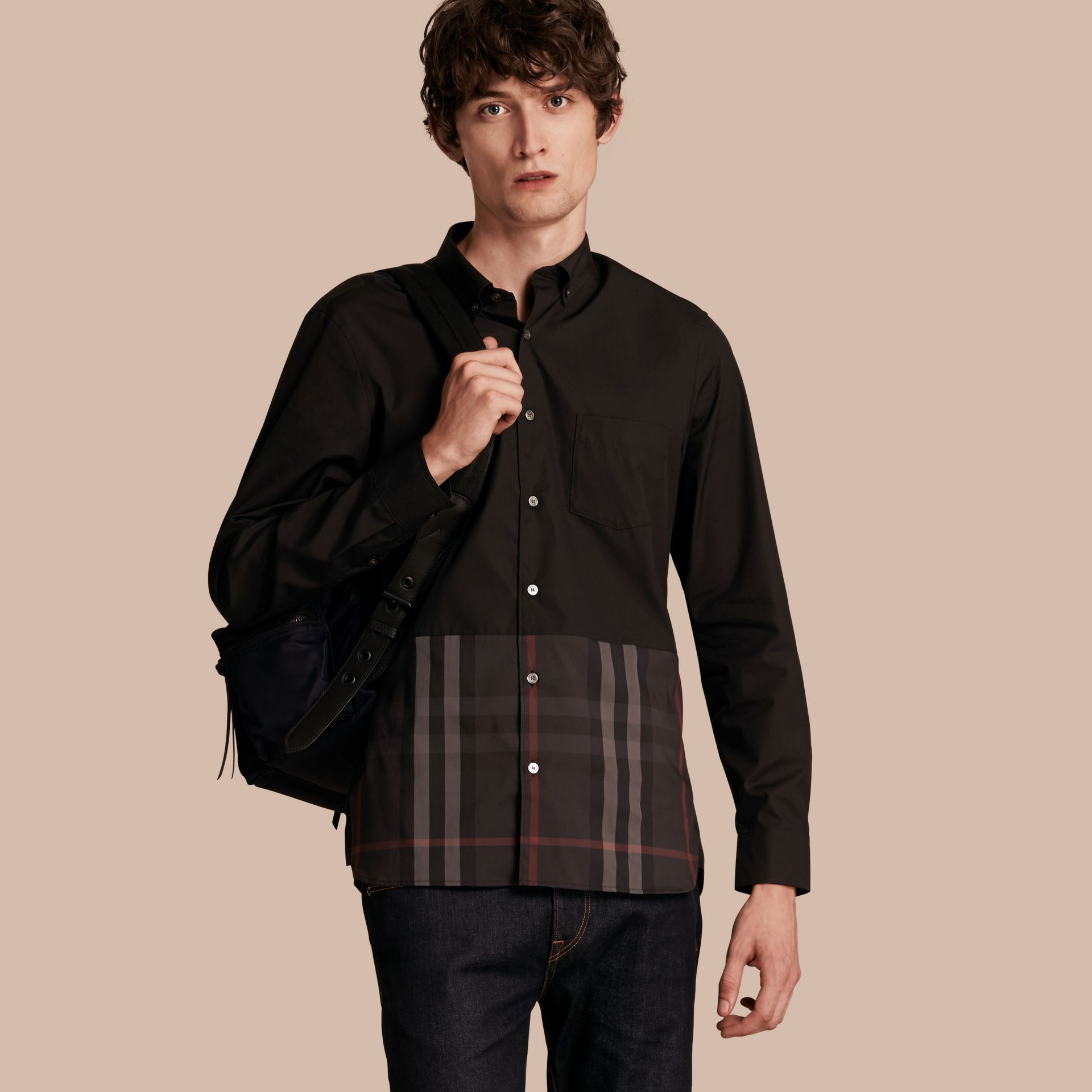 Black Check Panel Stretch-Cotton Poplin Shirt Black - gallery image 1