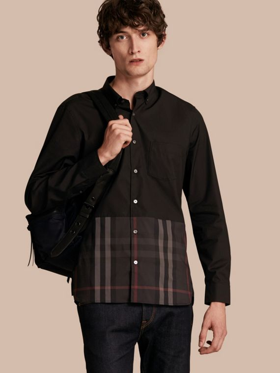 Check Panel Stretch-Cotton Poplin Shirt Black