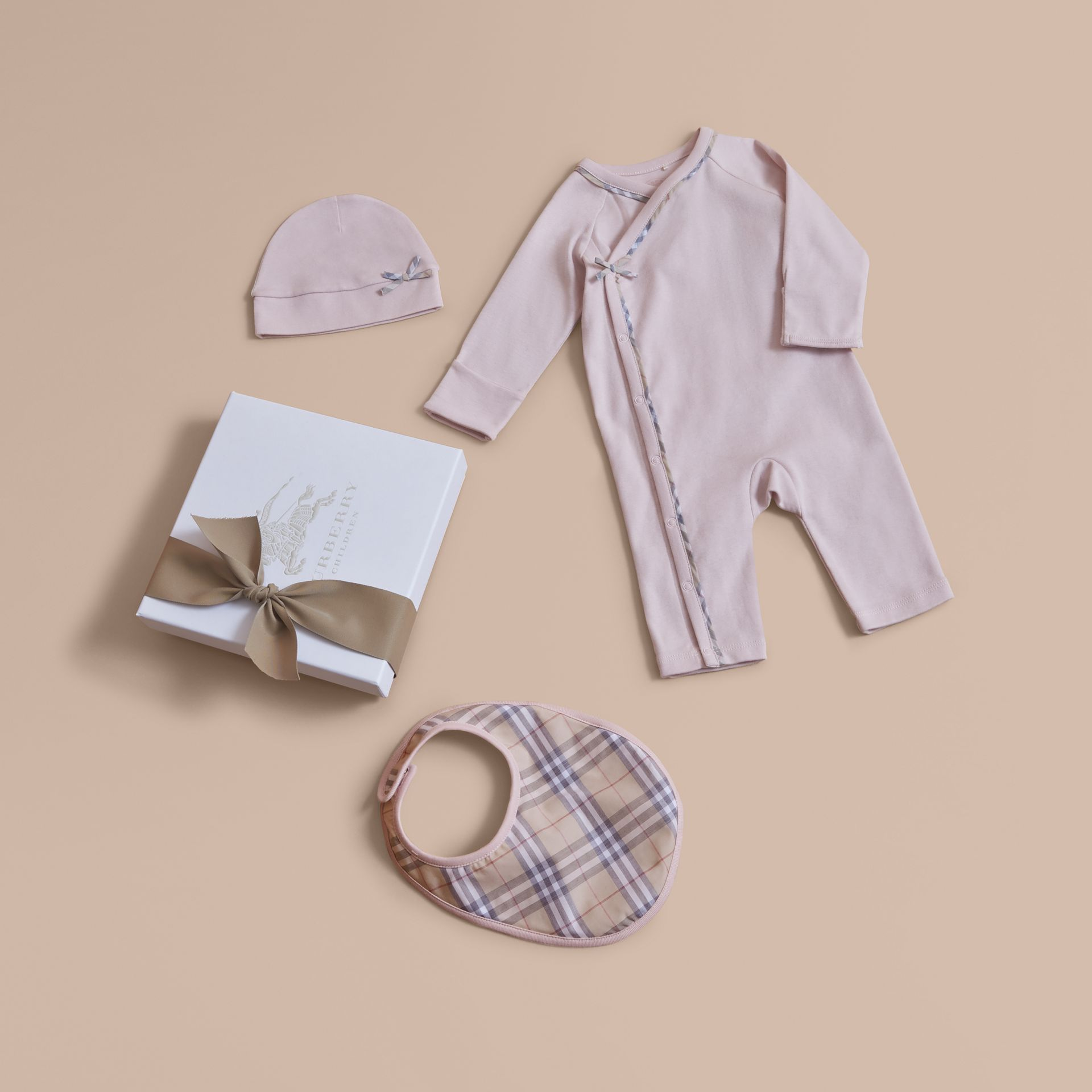 Cotton Three-piece Baby Gift Set in Powder Pink | Burberry - gallery image 1