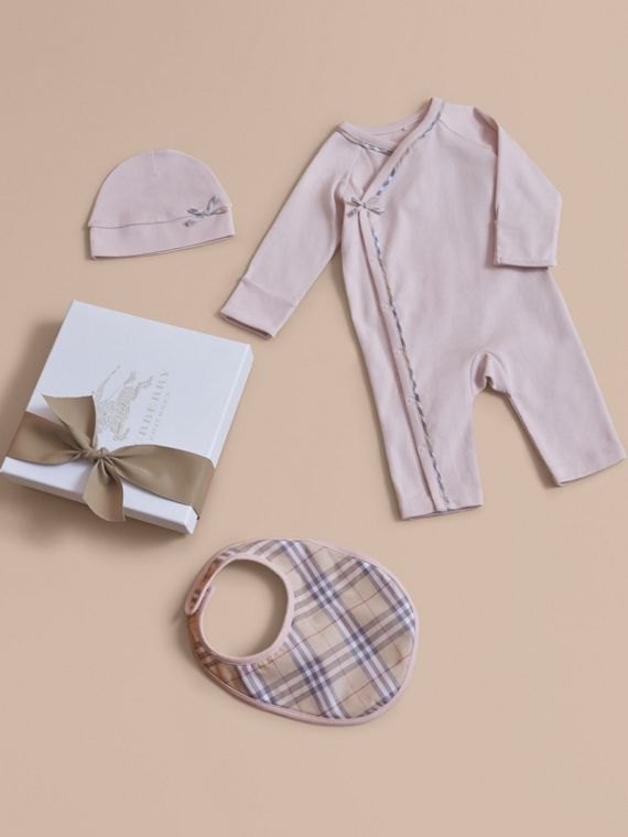 Cotton Three-piece Baby Gift Set in Powder Pink