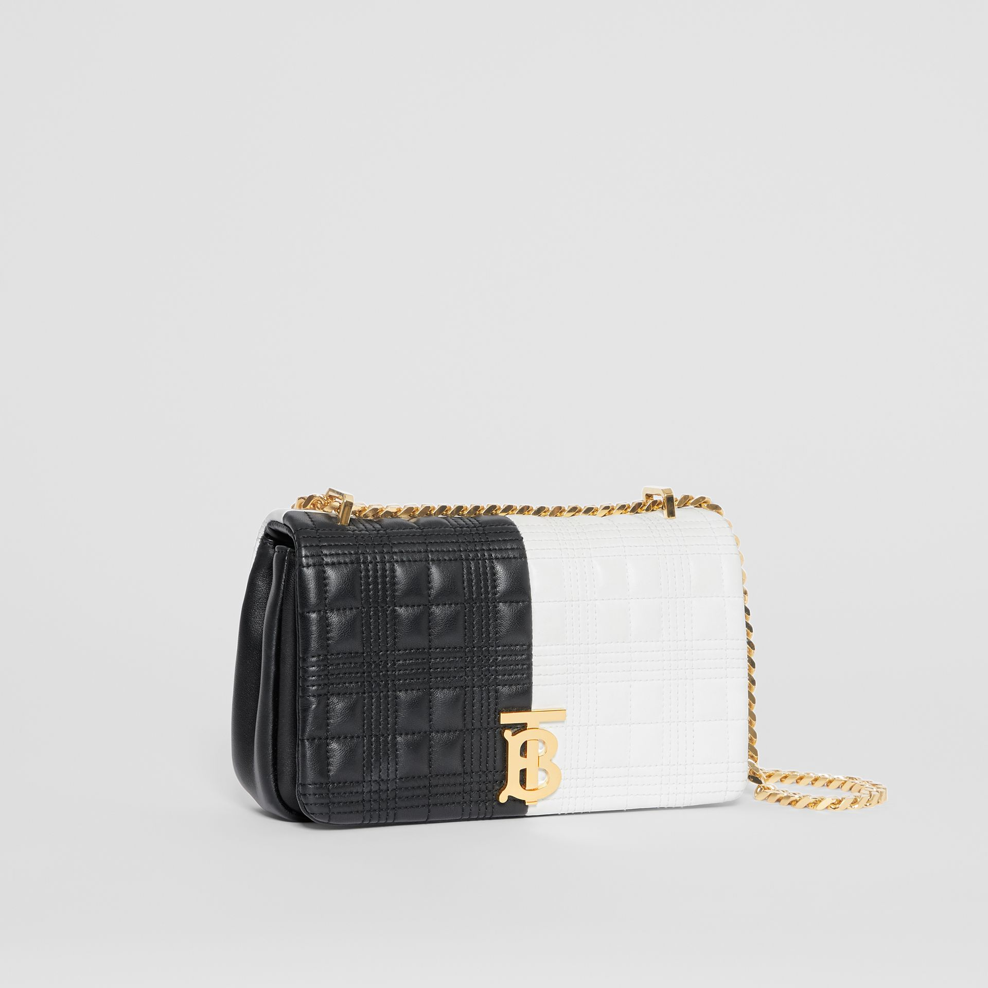 Small Quilted Check Two-tone Lambskin Lola Bag in White/black - Women | Burberry United States - gallery image 4