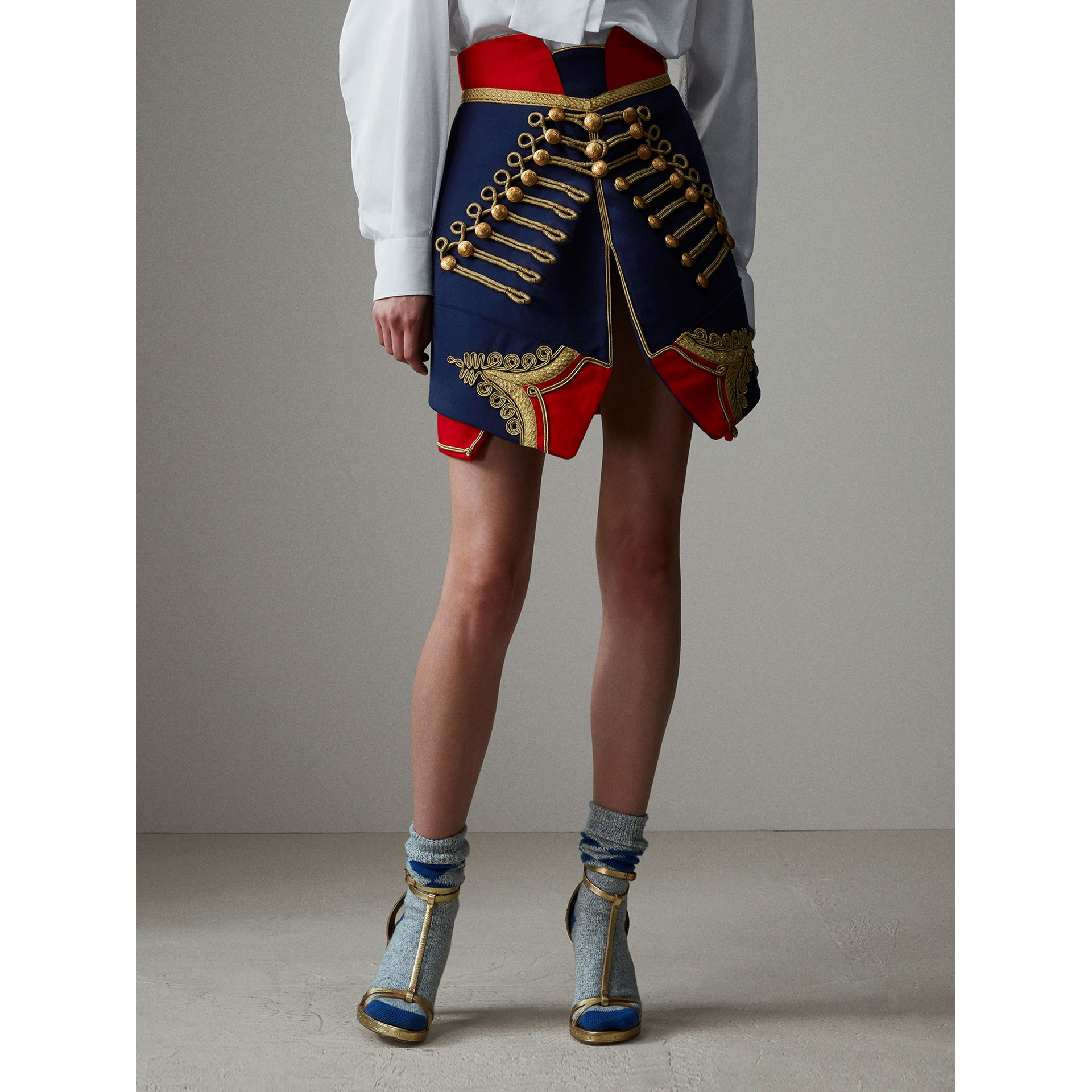 Regalia Detail Wool Ceremonial Skirt in Bright Navy - Women | Burberry - gallery image 8