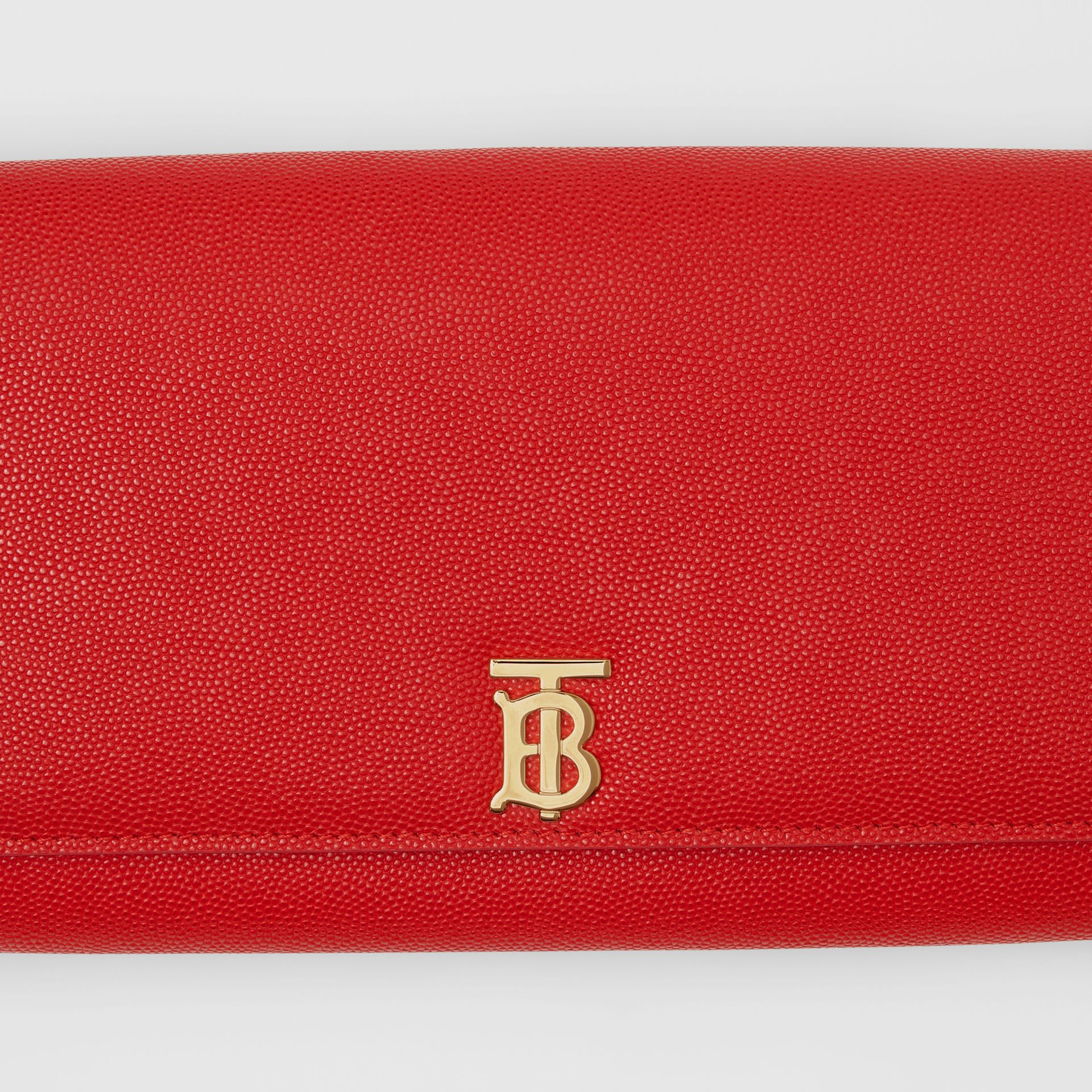 Monogram Motif Leather Wallet with Detachable Strap in Bright Red - Women | Burberry - gallery image 1