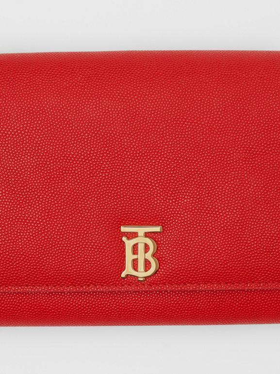 Monogram Motif Leather Wallet with Detachable Strap in Bright Red - Women | Burberry - cell image 1