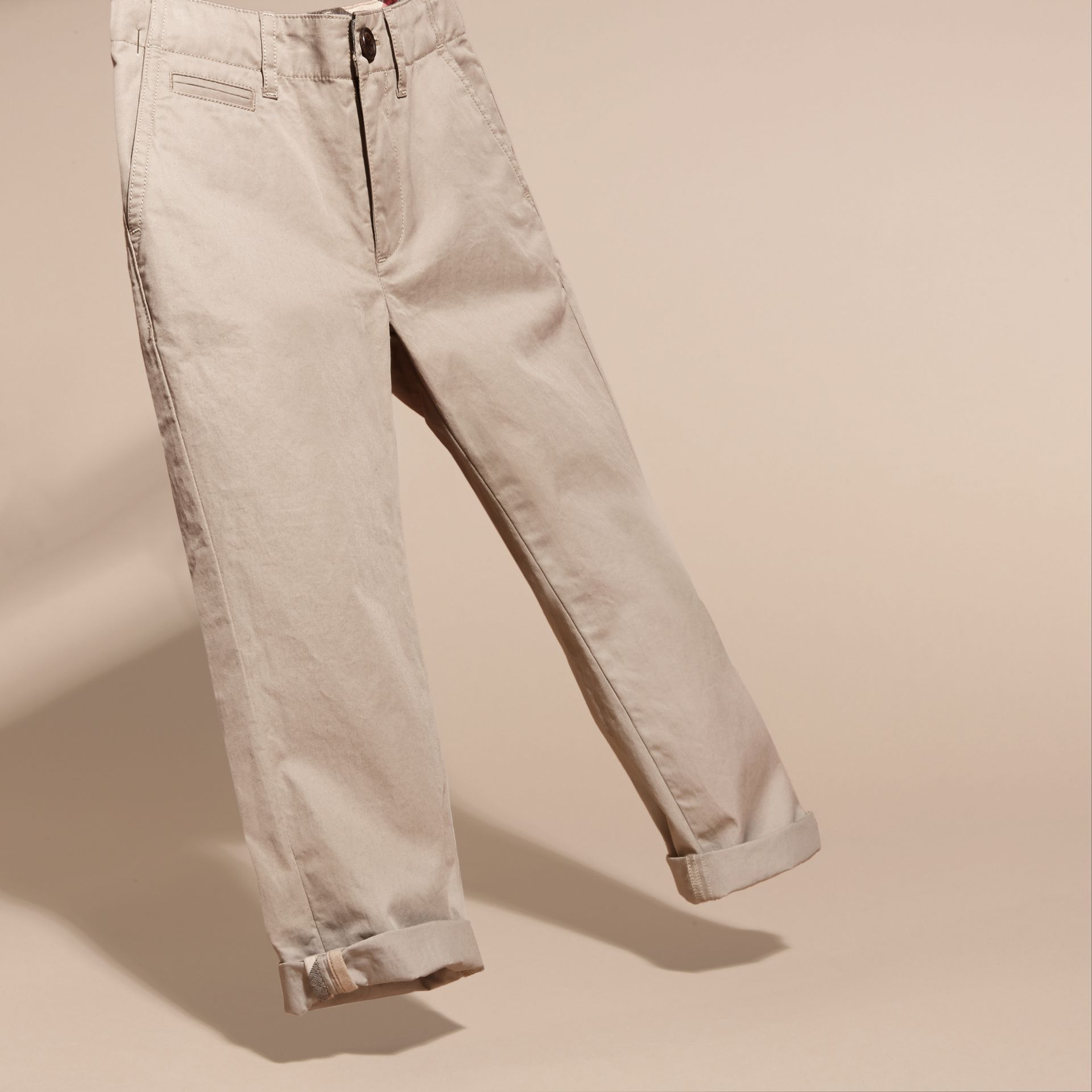 Taupe Cotton Chinos Taupe - gallery image 3