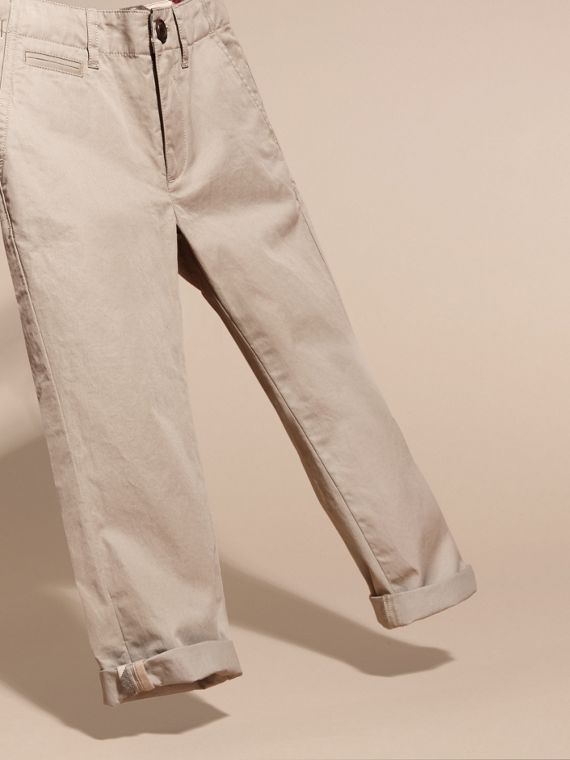 Cotton Chinos in Taupe - Boy | Burberry United Kingdom - cell image 2