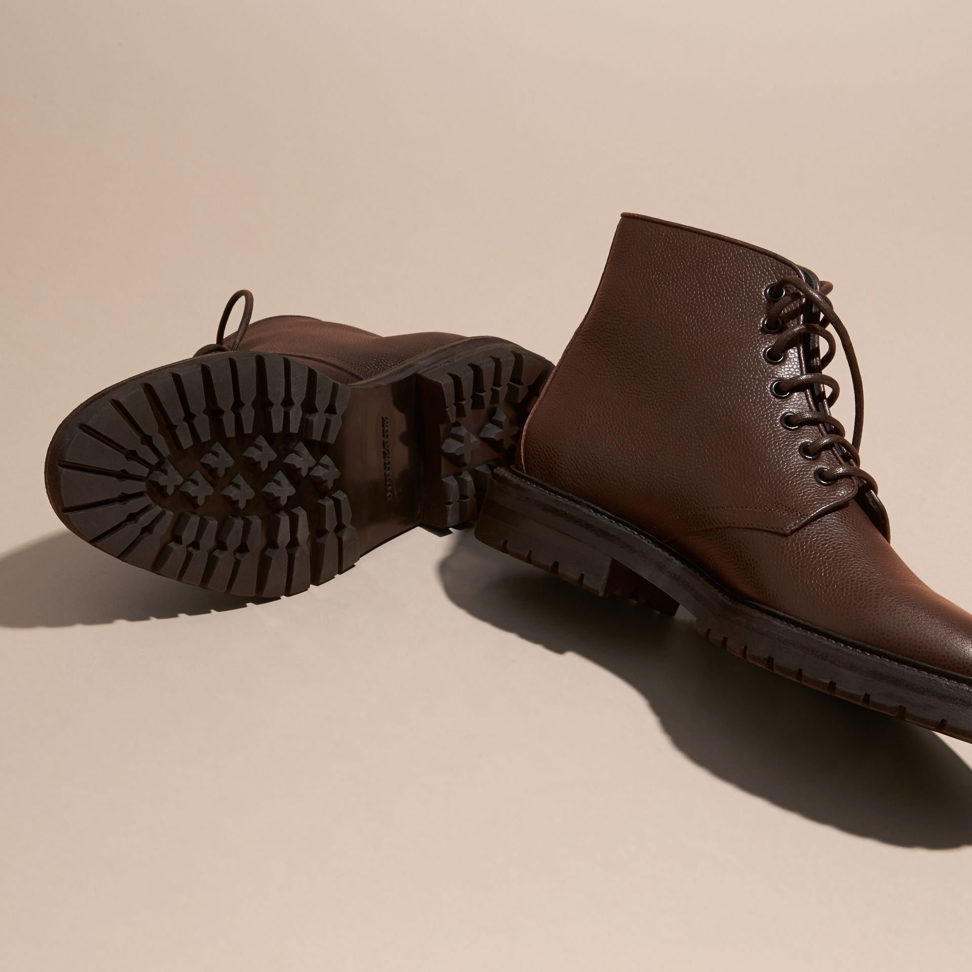 Chestnut Lace-up Grainy Leather Boots Chestnut - gallery image 5