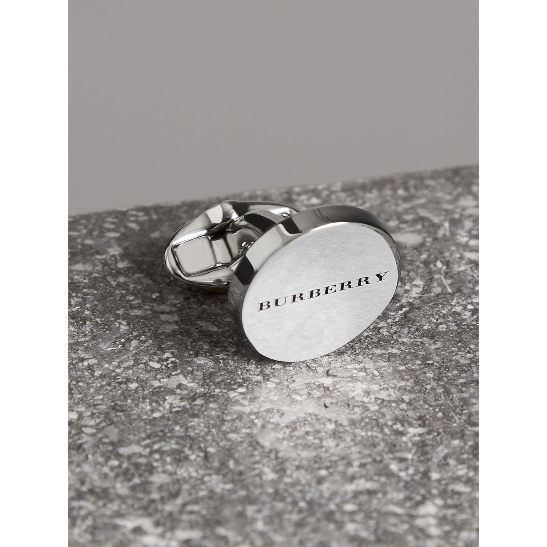 Engraved Bronze Oval Cufflinks in Silver - Men | Burberry - gallery image 1