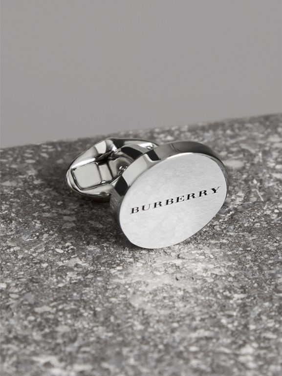 Engraved Bronze Cufflinks in Silver - Men | Burberry United States - cell image 1