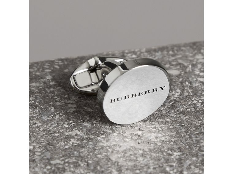 Engraved Bronze Oval Cufflinks in Silver - Men | Burberry - cell image 1