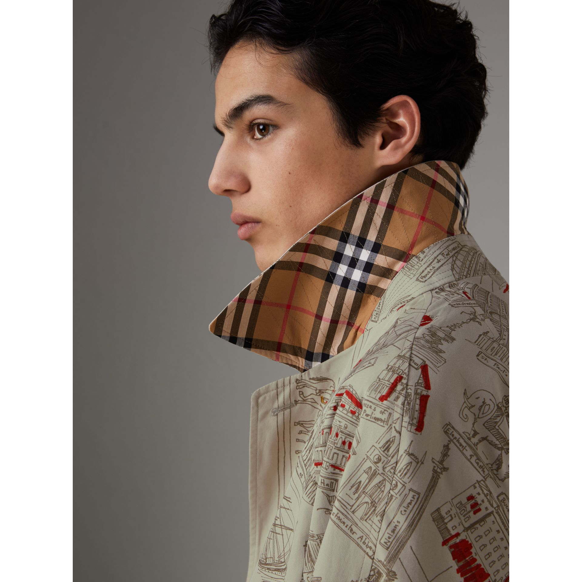 London Sketch Print Car Coat in Stone - Men | Burberry United Kingdom - gallery image 5