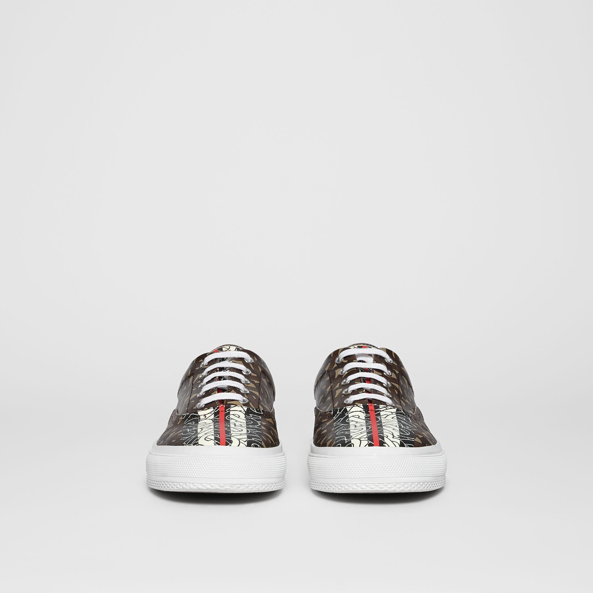 Monogram Stripe E-canvas Sneakers in Bridle Brown - Men | Burberry United Kingdom - gallery image 3