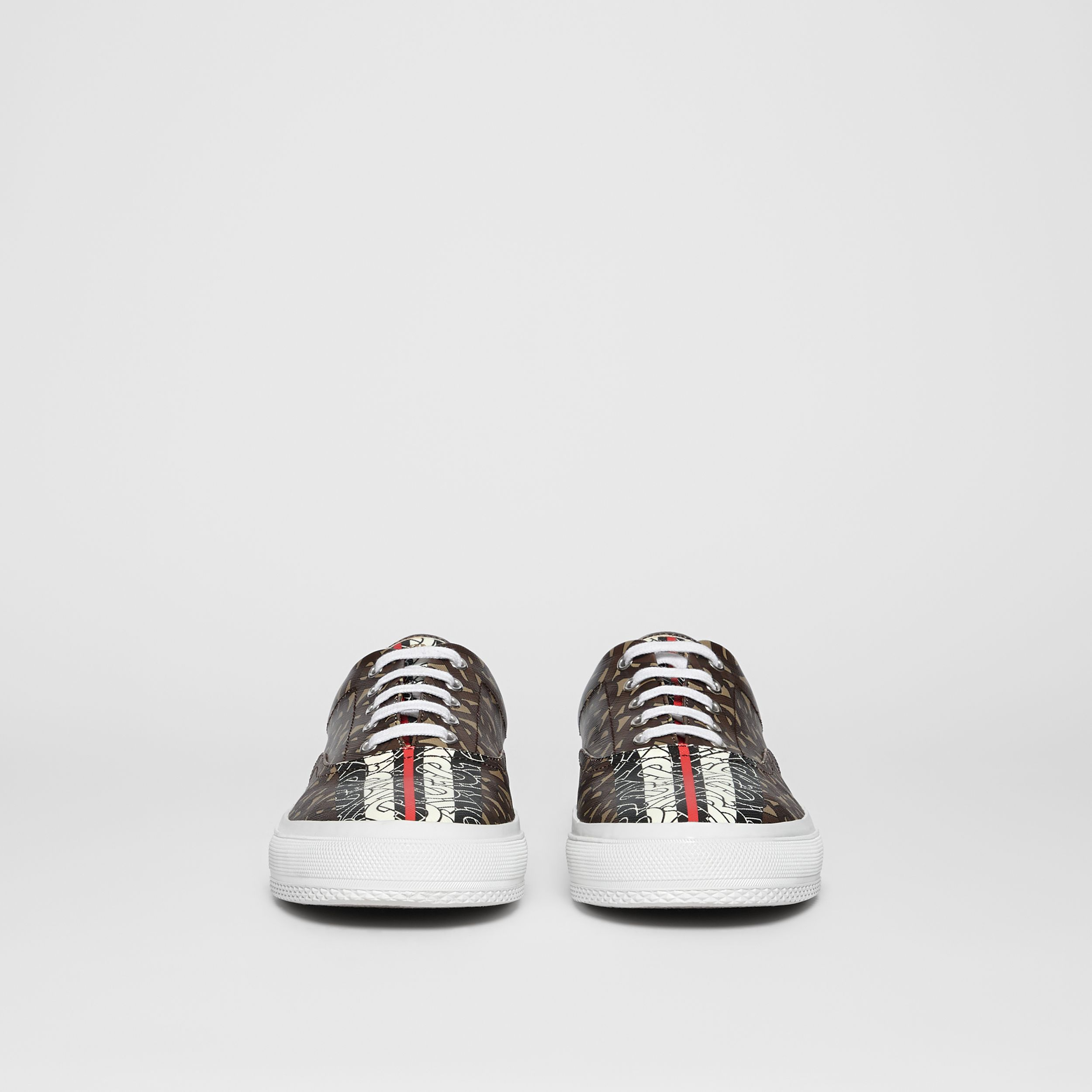 Sneaker in e-canvas con stampa monogramma a righe (Marrone Redini) - Uomo | Burberry - 4