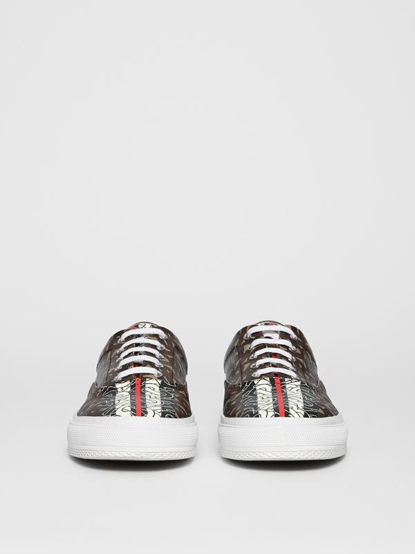 Monogram Stripe E-canvas Sneakers in Bridle Brown - Men | Burberry - cell image 3
