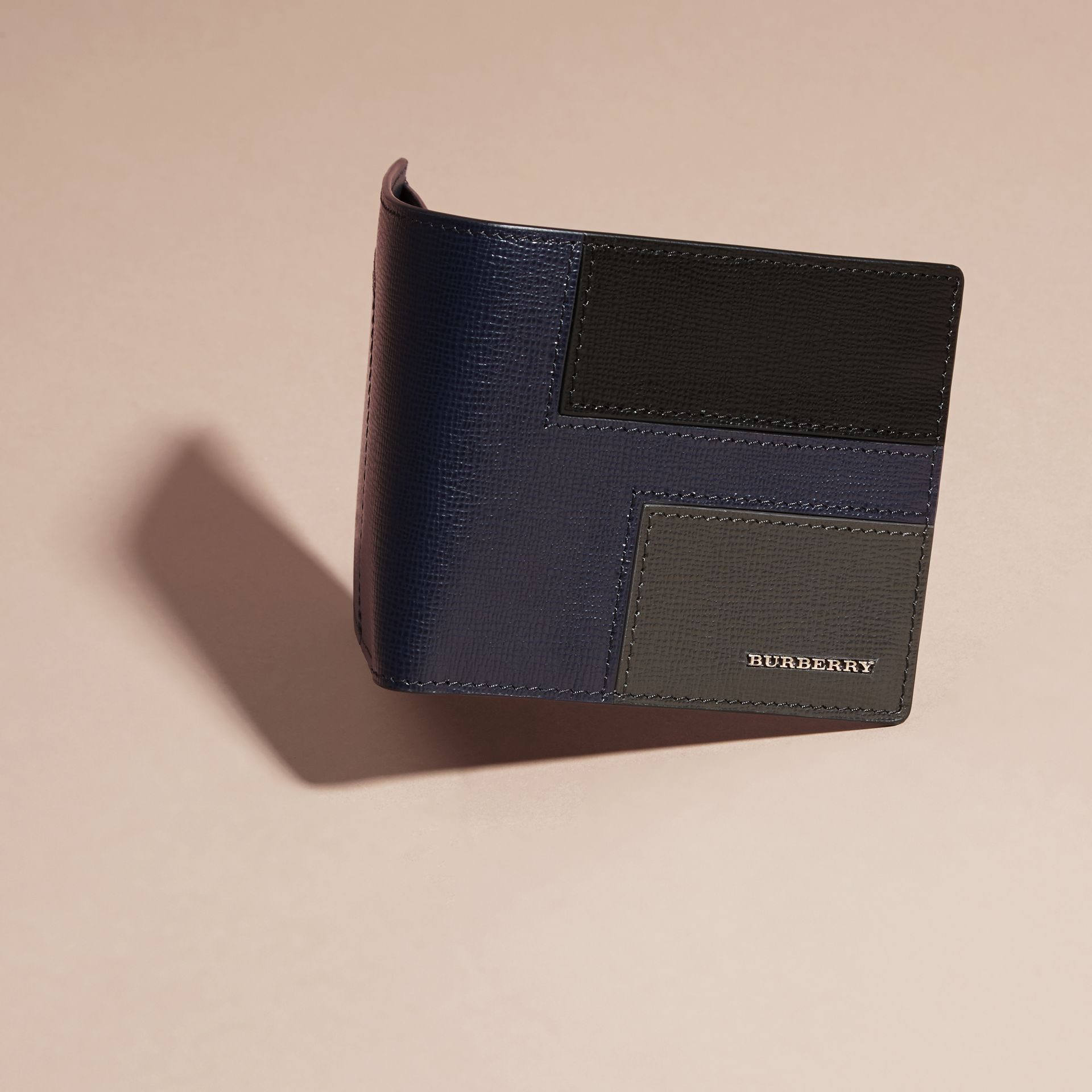 Dark navy Patchwork London Leather Folding Wallet Dark Navy - gallery image 3