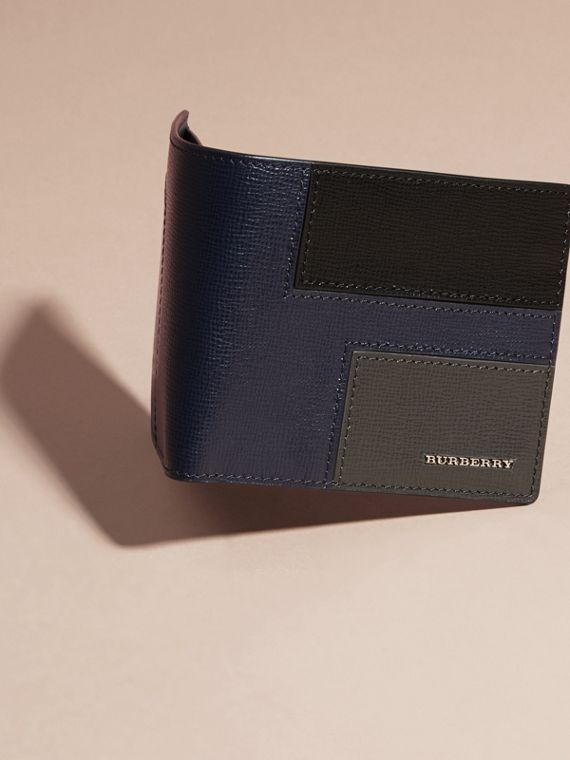 Dark navy Patchwork London Leather Folding Wallet Dark Navy - cell image 2