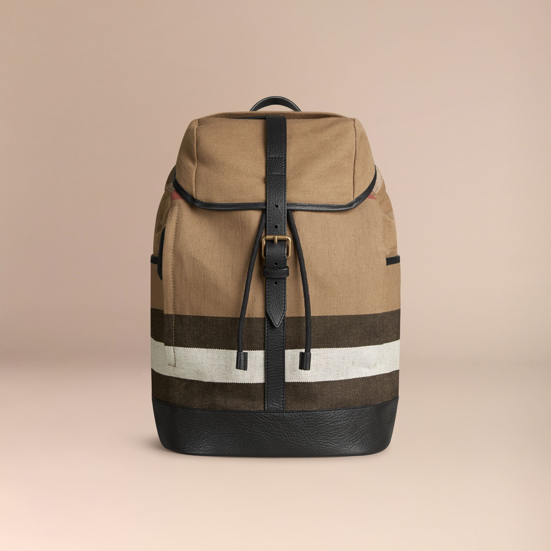 Camel Canvas Check Backpack Camel - gallery image 4
