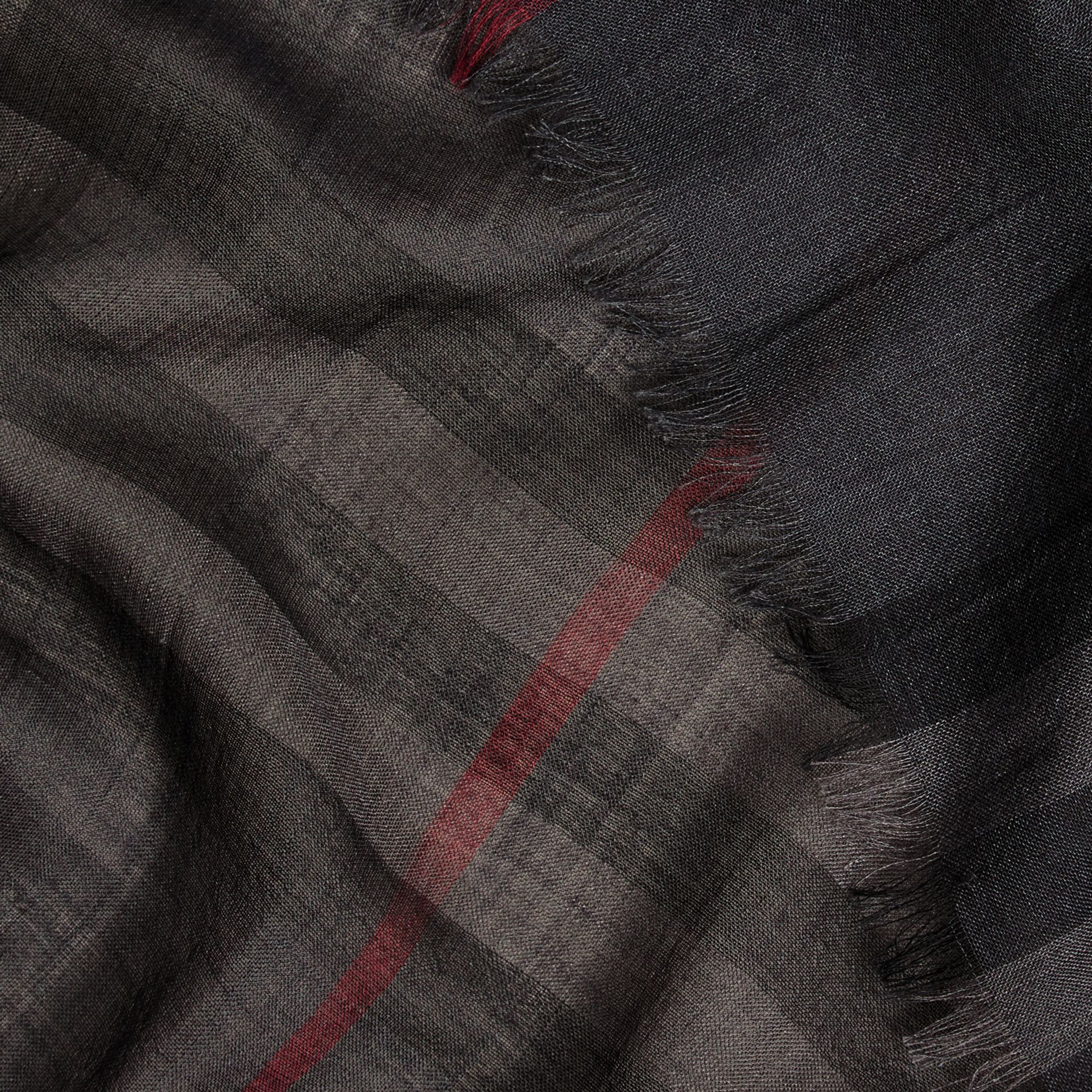 Lightweight Check Wool and Silk Scarf in Charcoal - gallery image 2