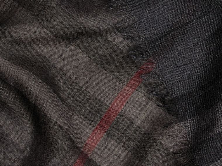 Lightweight Check Wool and Silk Scarf in Charcoal - cell image 1