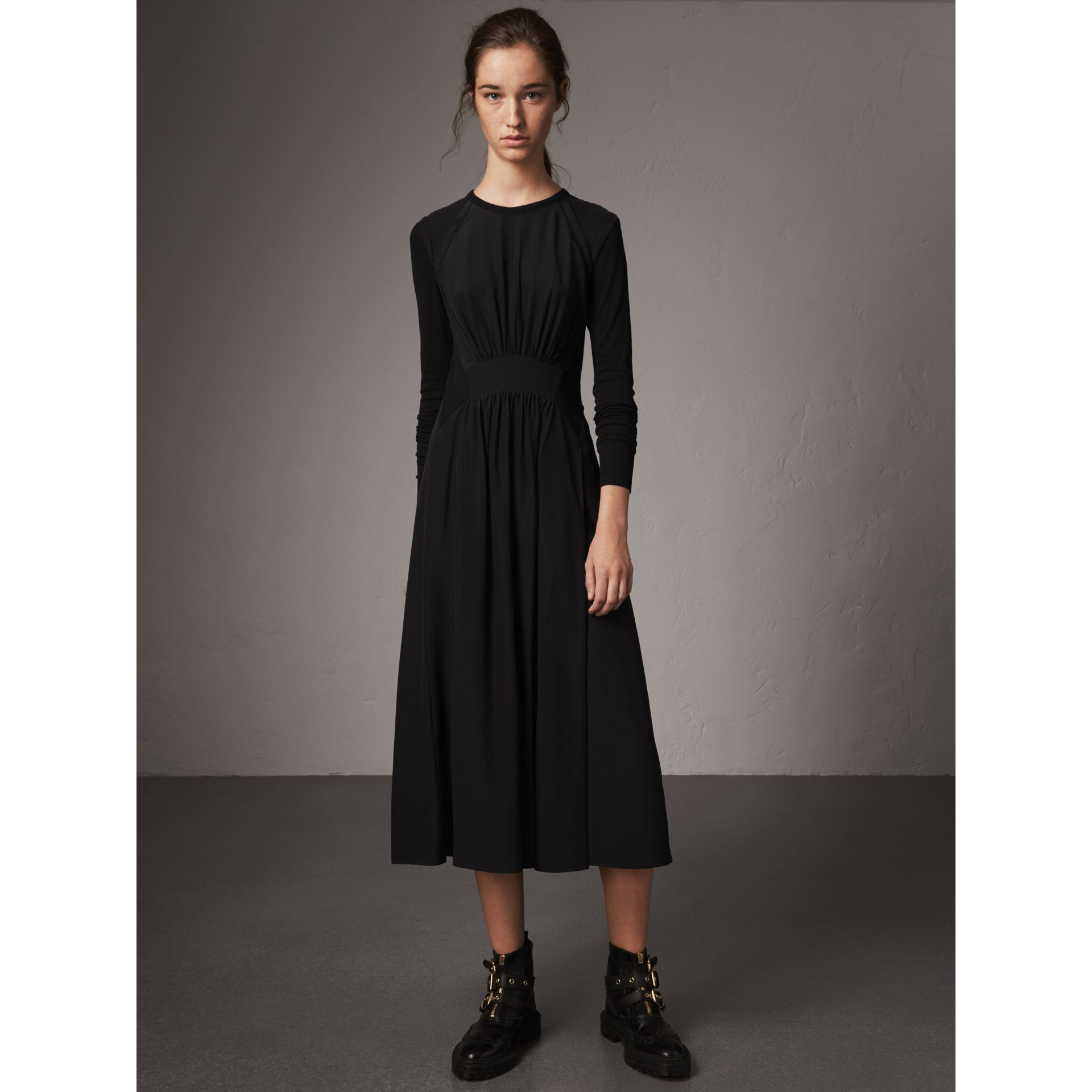 Long-sleeve Silk Gathered Dress in Black - Women | Burberry - gallery image 1