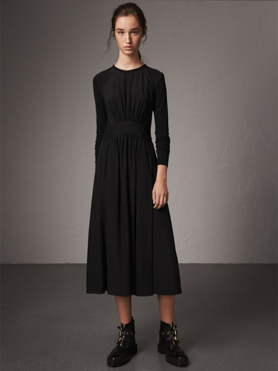 Long-sleeve Silk Gathered Dress in Black