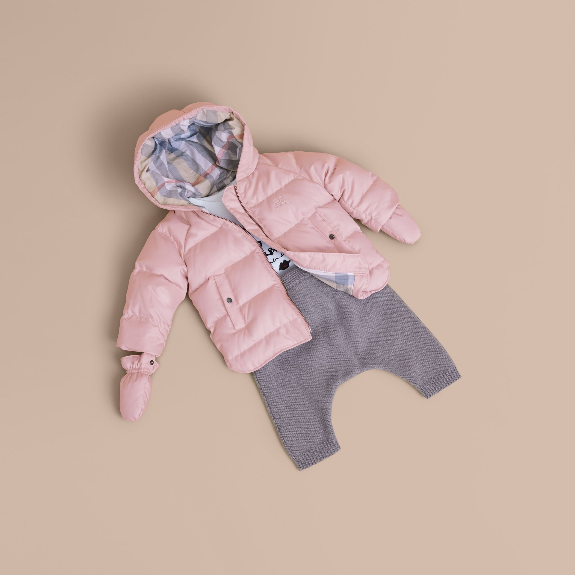 Hooded Down-filled Puffer Jacket with Mittens in Powder Pink | Burberry - gallery image 1