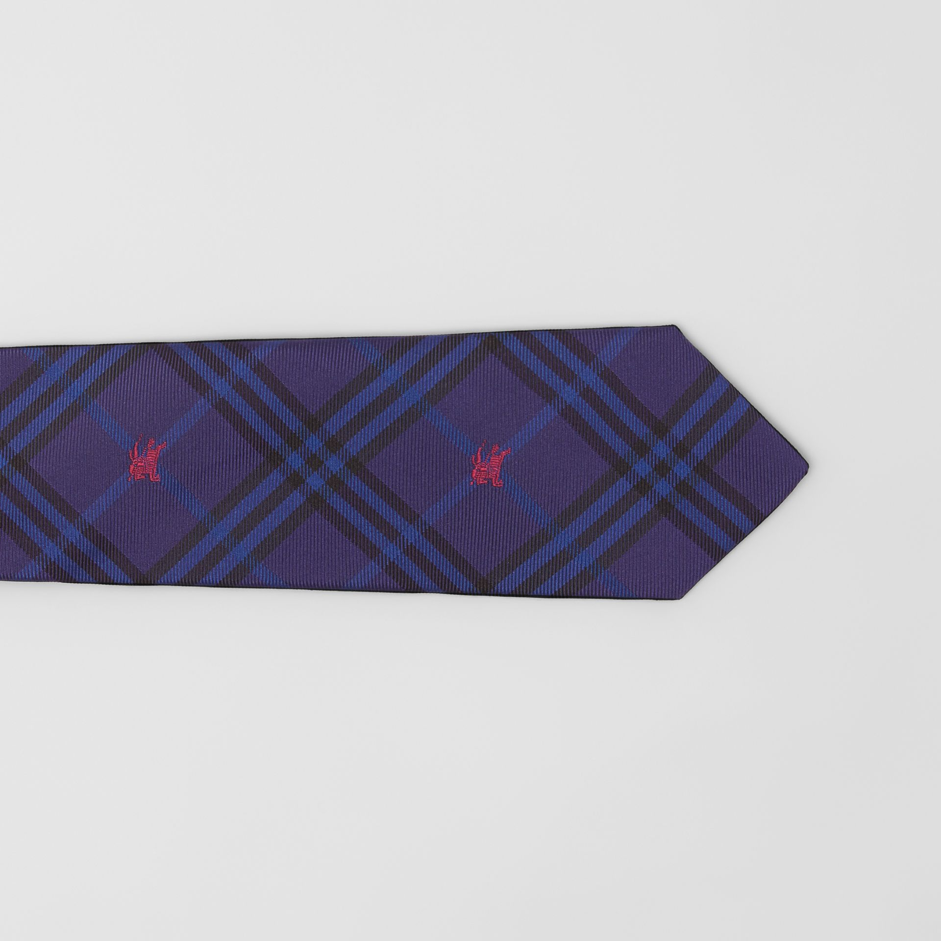 Slim Cut Equestrian Knight Check Silk Tie in Dark Indigo Blue - Men | Burberry - gallery image 1
