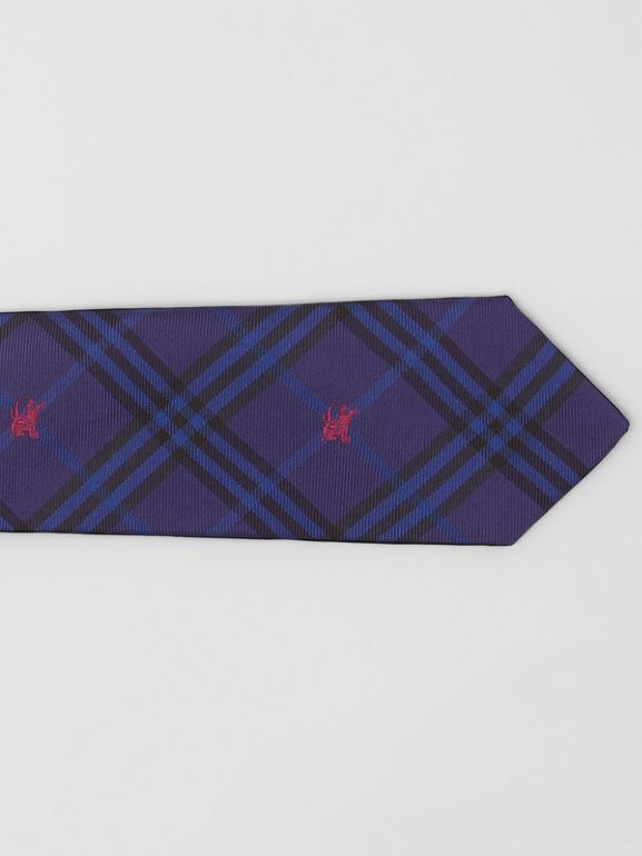 Slim Cut Equestrian Knight Check Silk Tie in Dark Indigo Blue - Men | Burberry Hong Kong - cell image 1