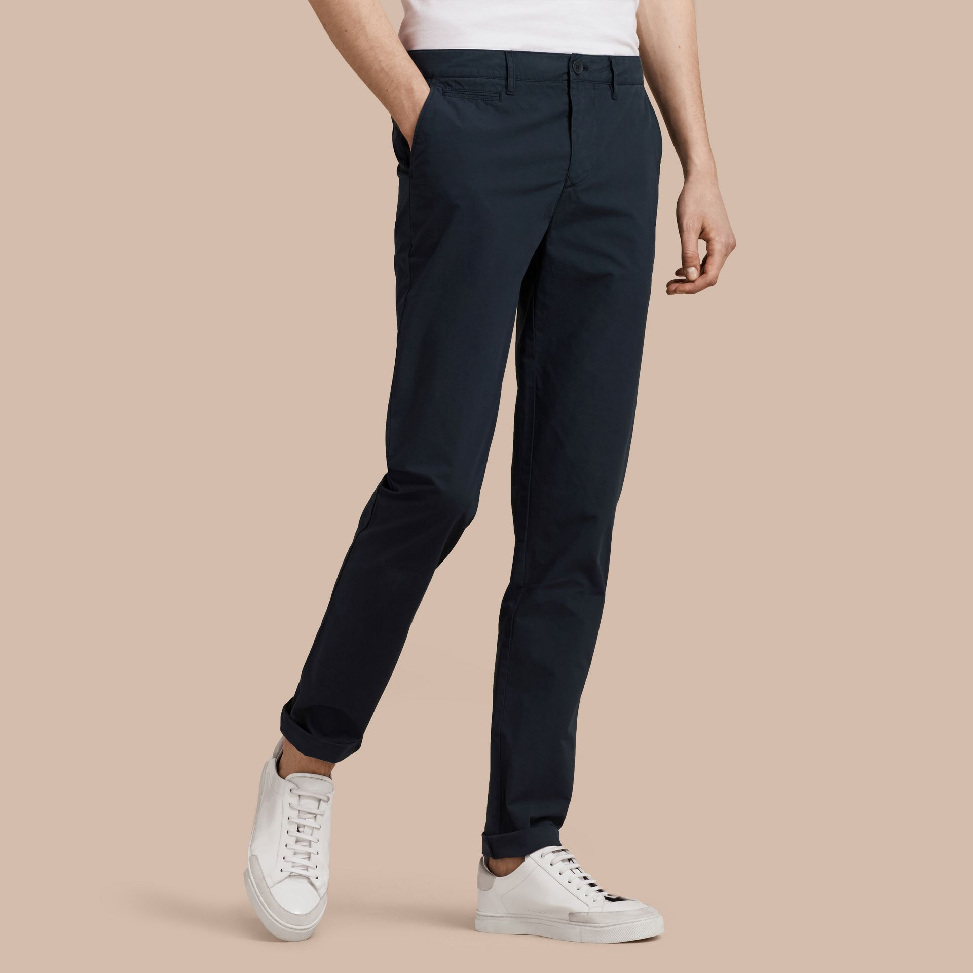 Indigo Slim Fit Cotton Poplin Chinos Indigo - gallery image 7