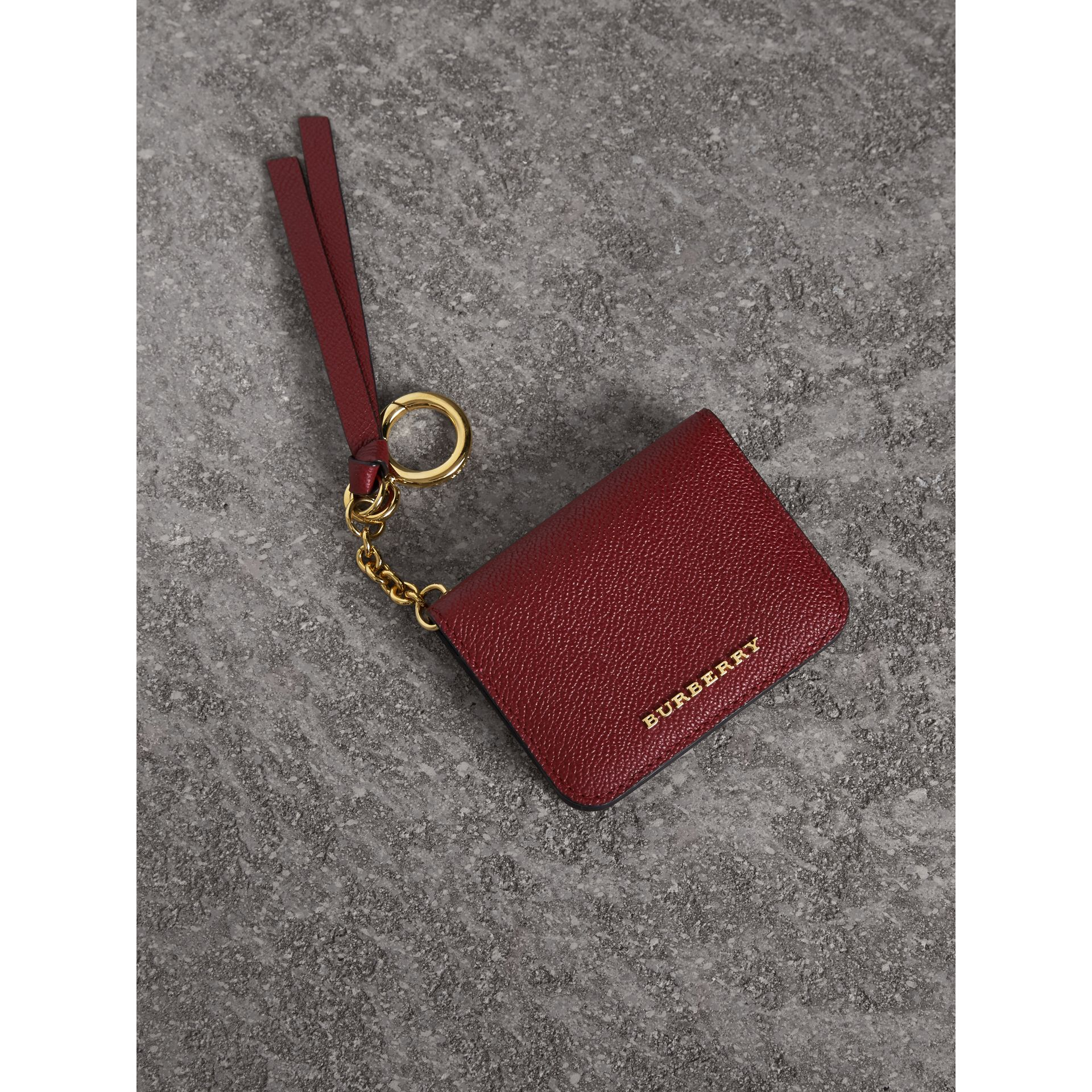 Leather and Haymarket Check ID Card Case Charm in Burgundy/multicolour - Women | Burberry Canada - gallery image 0