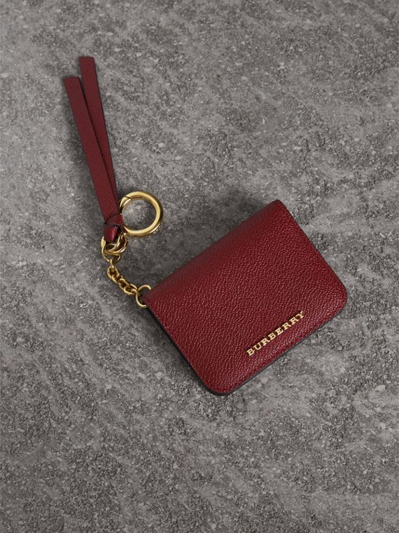 Leather and Haymarket Check ID Card Case Charm in Burgundy/multicolour