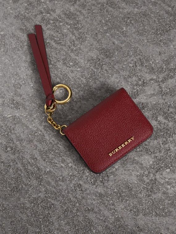 Étui porte-clés fantaisie pour pièce d'identité en cuir et tissu Haymarket check (Bourgogne/multicolore)