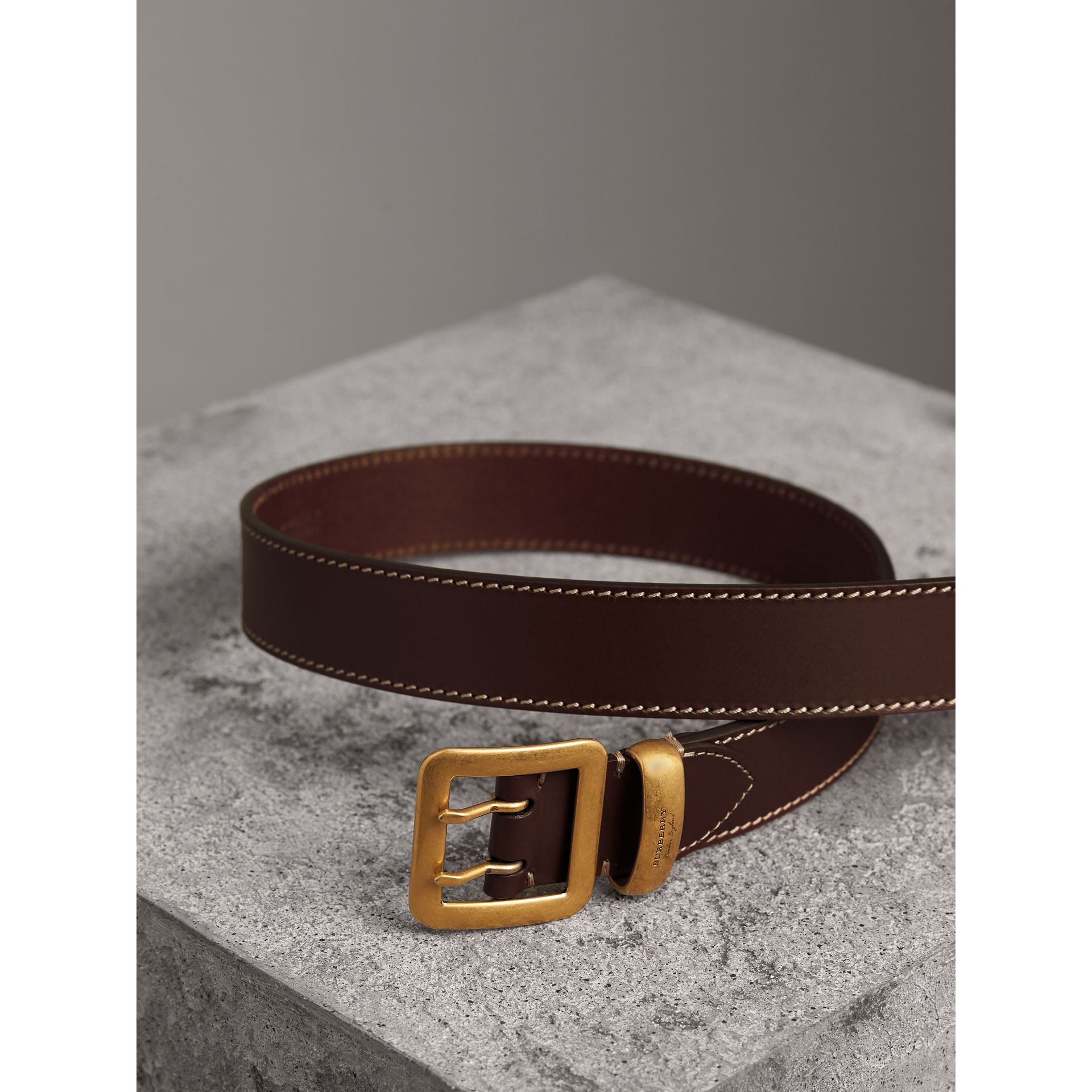 Double-pin Buckle Leather Belt in Auburn - Men | Burberry - gallery image 3