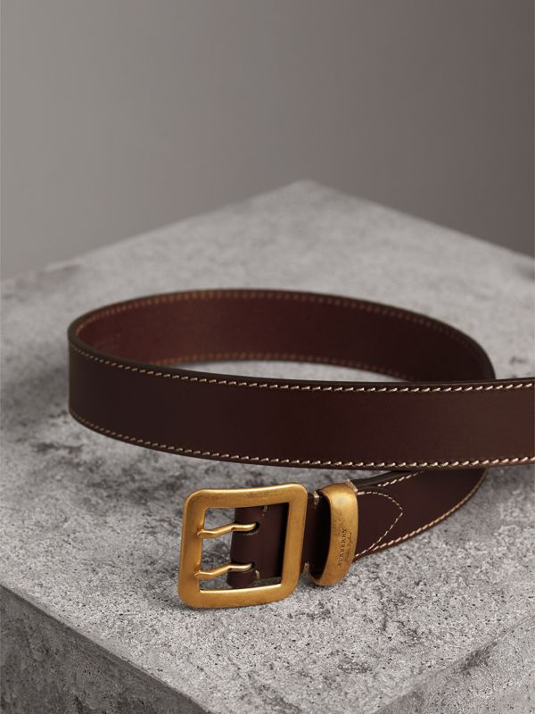 Double-pin Buckle Leather Belt in Auburn - Men | Burberry - cell image 3