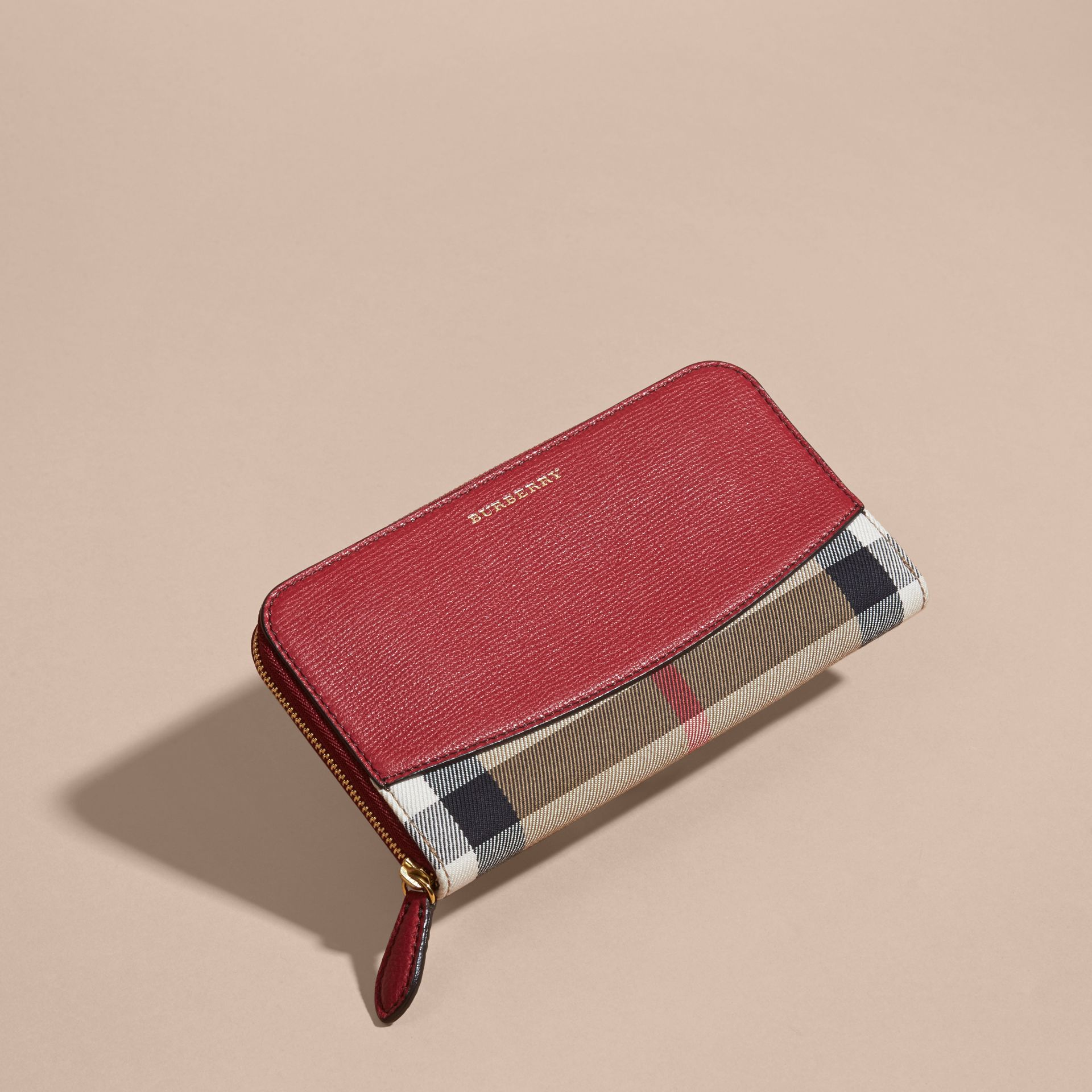 House Check and Leather Ziparound Wallet Military Red - gallery image 6