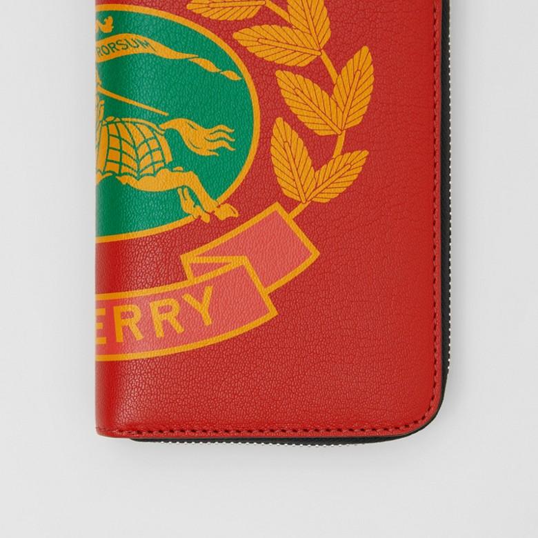 Burberry - Brieftasche aus Leder mit Ritteremblem und umlaufendem Reißverschluss - 2
