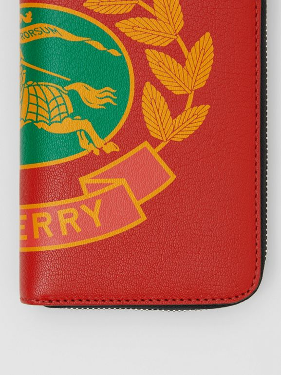Crest Print Leather Ziparound Wallet in Rust Red - Men | Burberry United States - cell image 1
