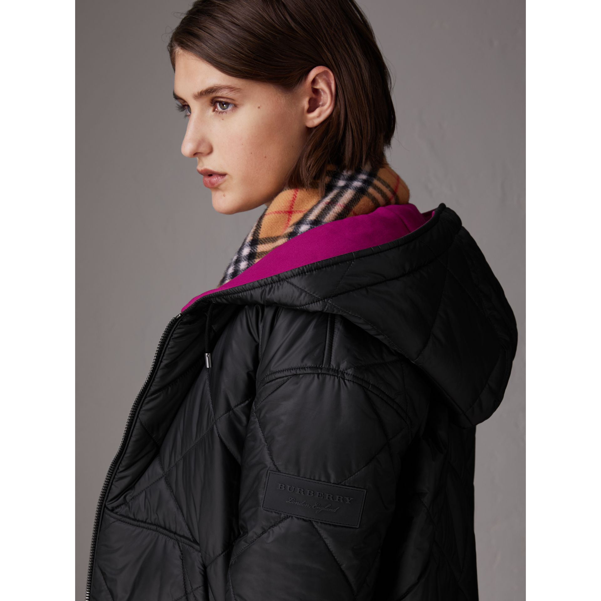 Reversible Diamond Quilted Hooded Jacket in Black - Women | Burberry Singapore - gallery image 1