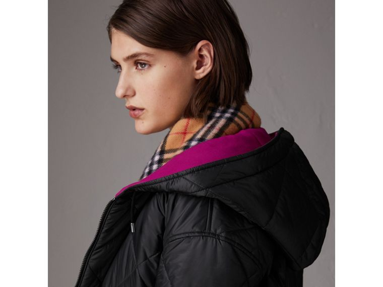 Reversible Diamond Quilted Hooded Jacket in Black - Women | Burberry Singapore - cell image 1