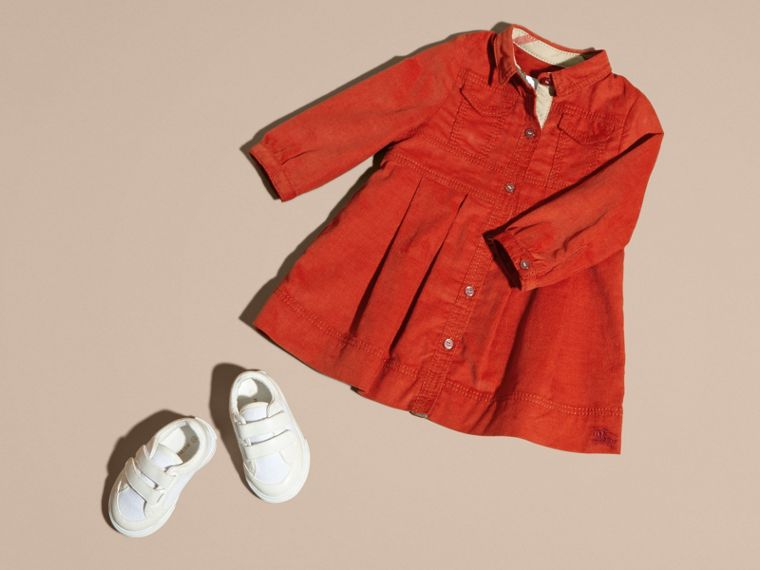 Orange red Cotton Corduroy Shirt Dress Orange Red - cell image 4