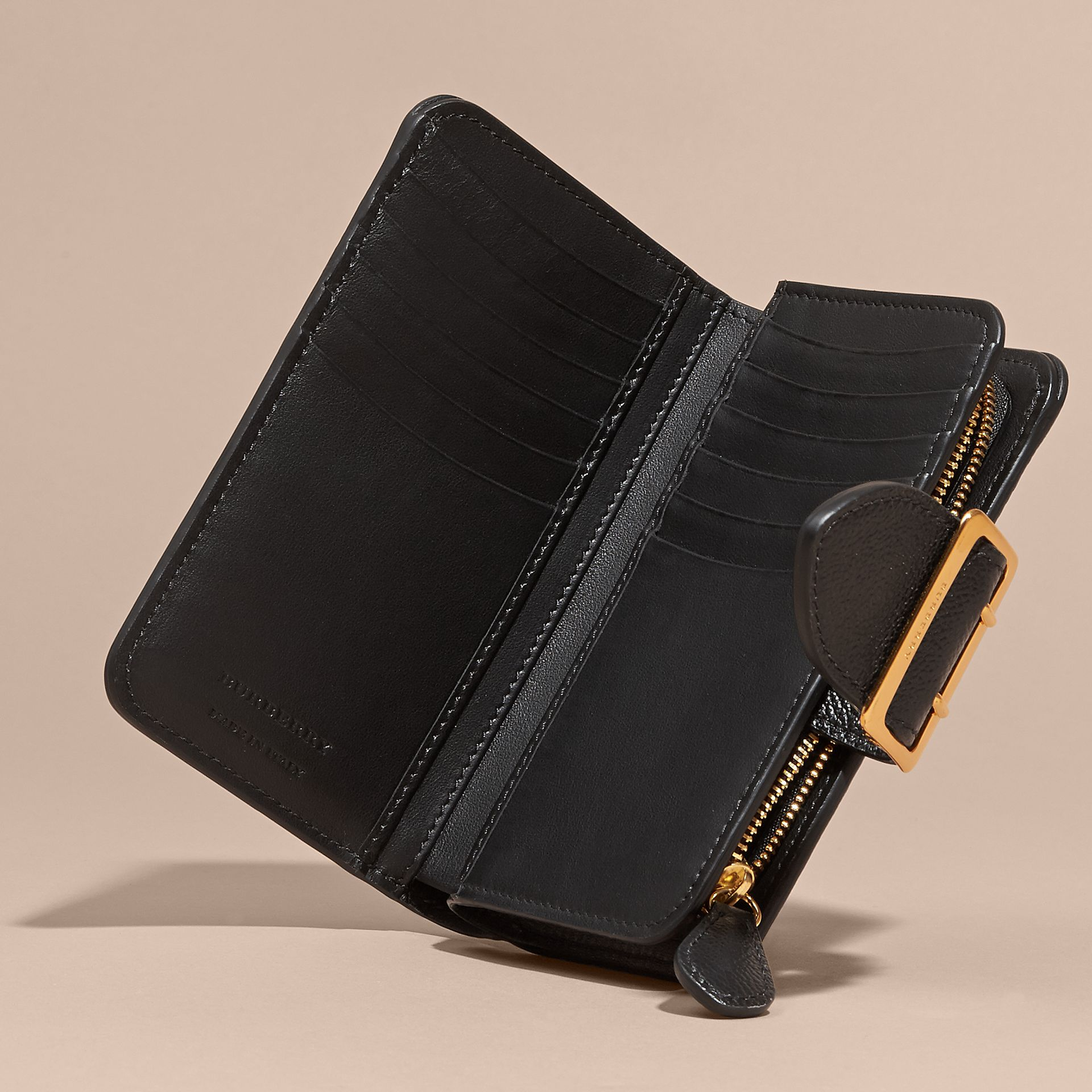 Buckle Detail Grainy Leather Wallet in Black - gallery image 6