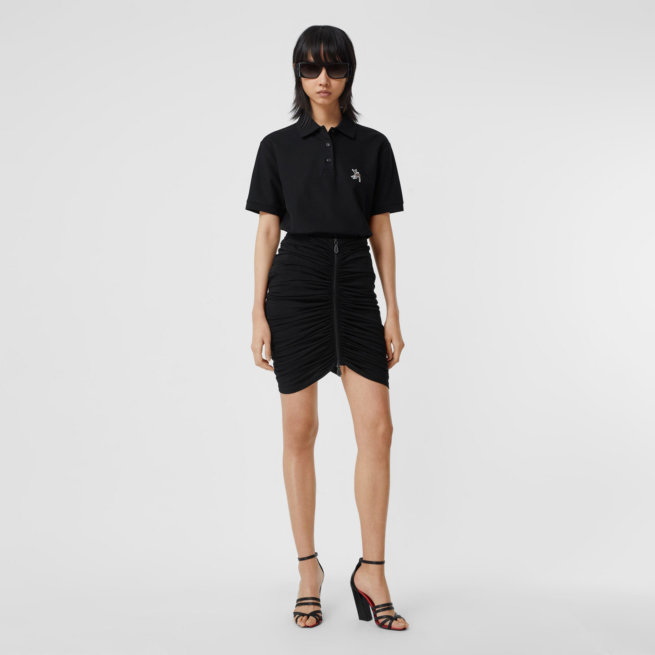 Deer Motif Cotton Piqué Oversized Polo Shirt in Black - Women | Burberry Hong Kong S.A.R. - 1