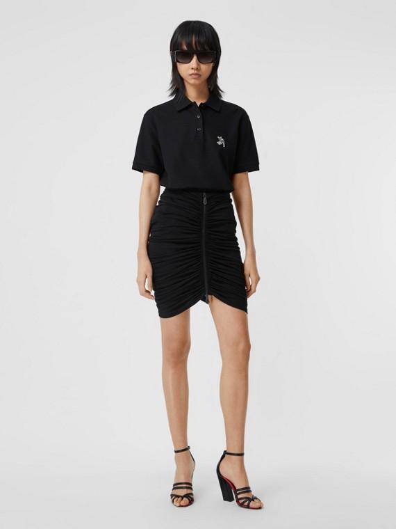 Deer Motif Cotton Piqué Oversized Polo Shirt in Black