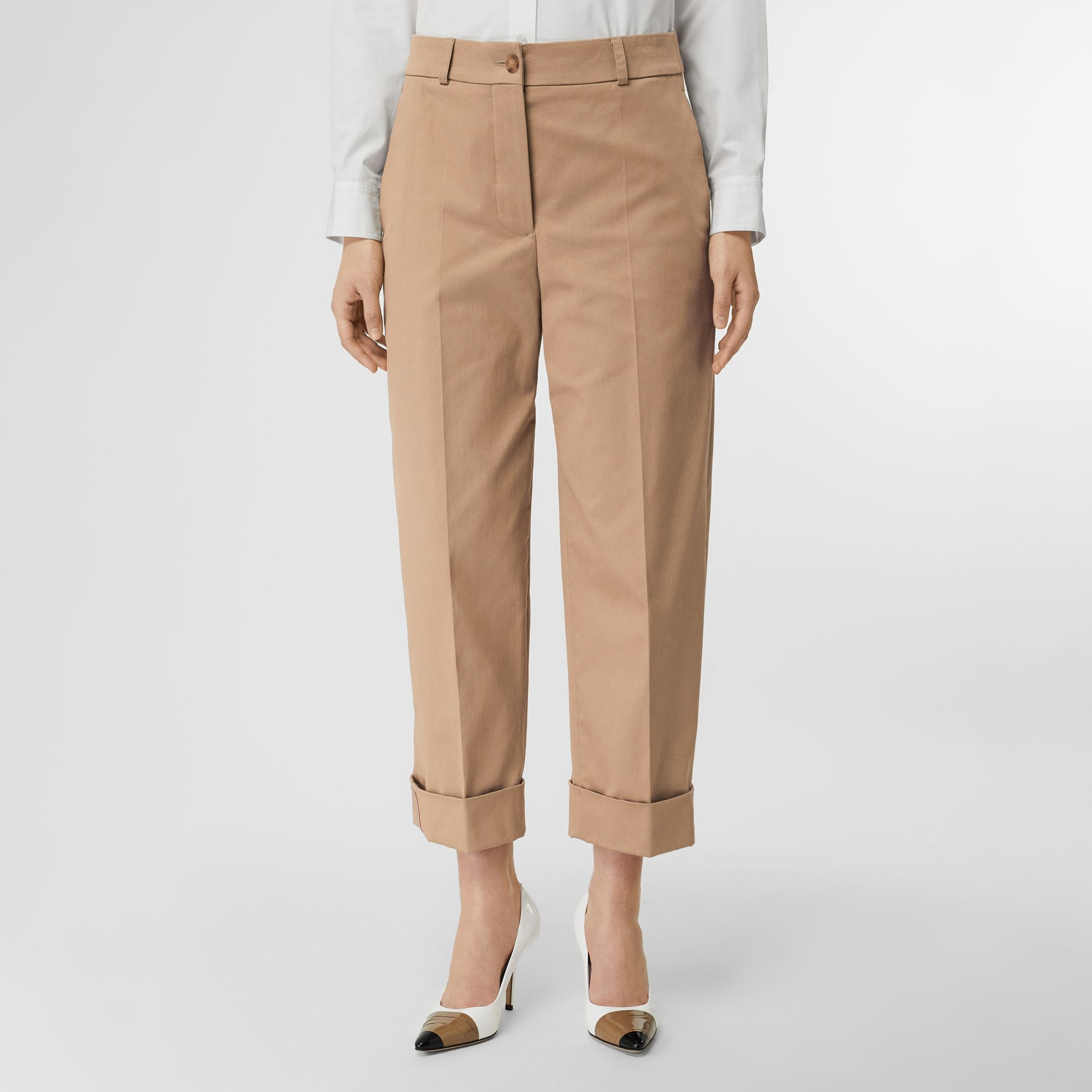 Icon Stripe Detail Stretch Cotton Cropped Trousers in Camel - Women | Burberry - gallery image 0