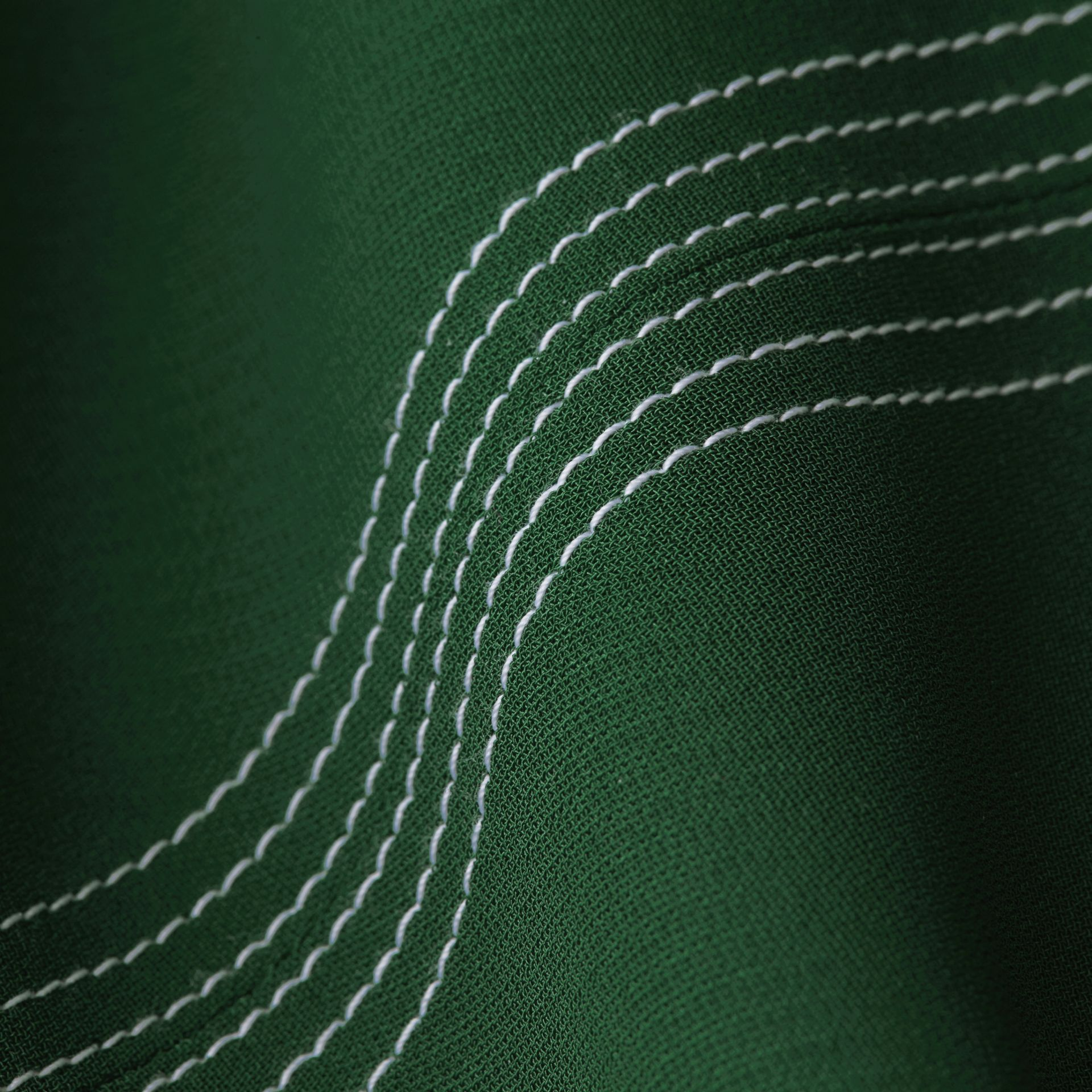 Deep green Topstitch Detail Georgette Dress with Knitted Collar - gallery image 2