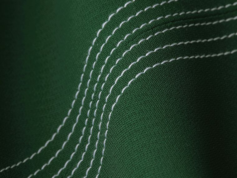 Deep green Topstitch Detail Georgette Dress with Knitted Collar - cell image 1