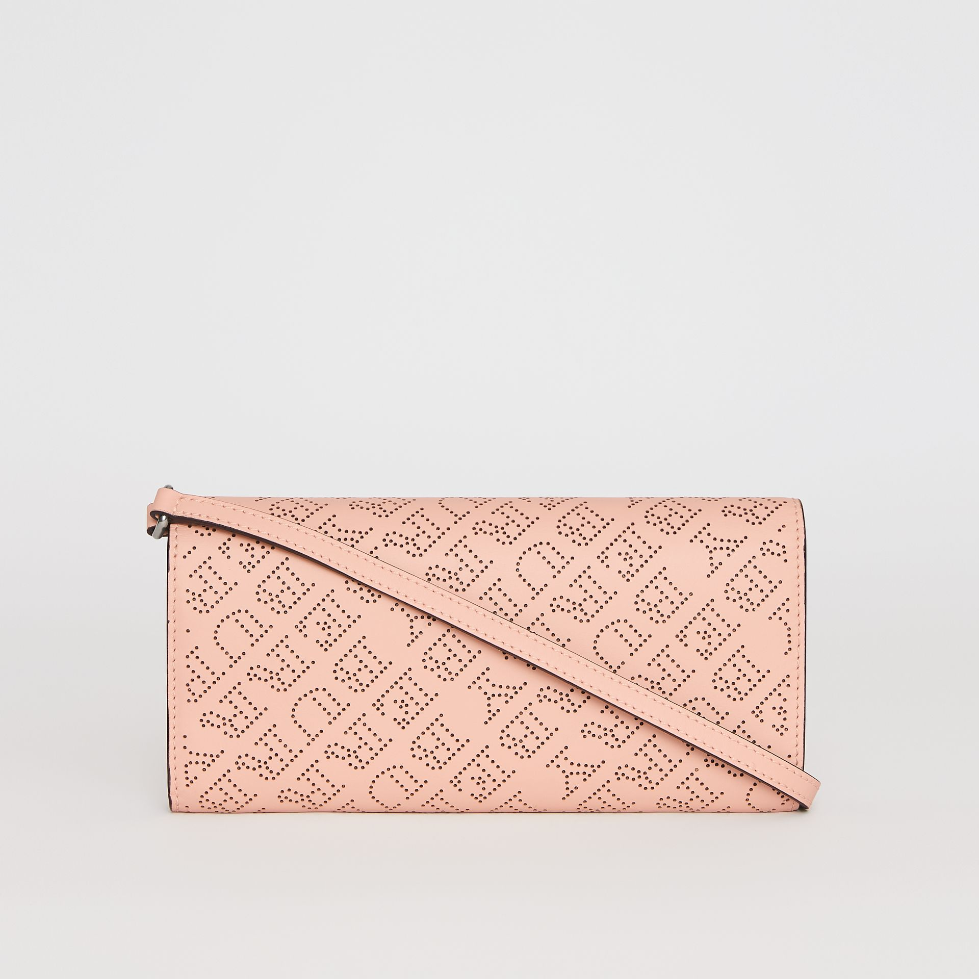 Perforated Logo Leather Wallet with Detachable Strap in Pale Fawn Pink - Women | Burberry United Kingdom - gallery image 4