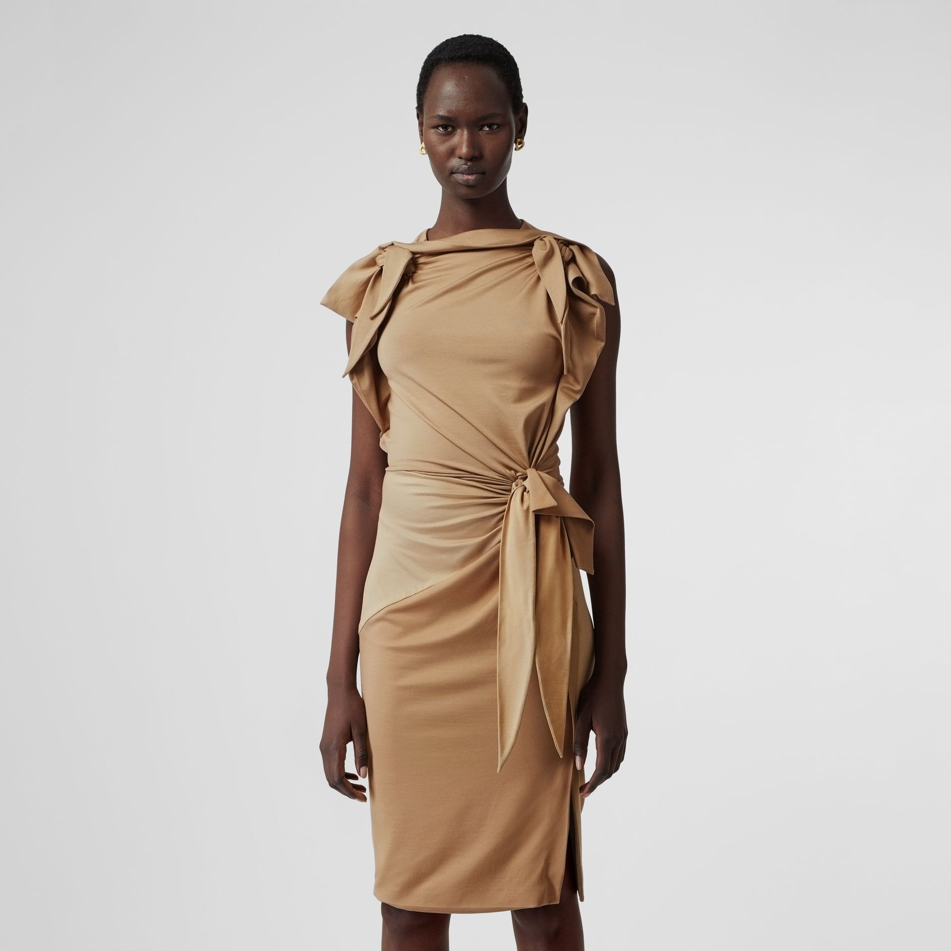 Tie Detail Tri-tone Silk Jersey Dress in Wheat - Women | Burberry United Kingdom - gallery image 5